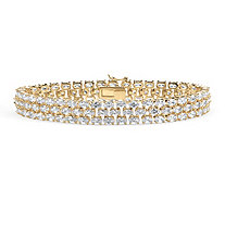 28.60 TCW Oval-Cut Cubic Zirconia 18k Gold-Plated Triple-Row Tennis Bracelet 8.5""