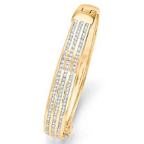 3.63 TCW Round Cubic Zirconia Triple-Row Bangle Bracelet 14k Yellow Gold-Plated 8""