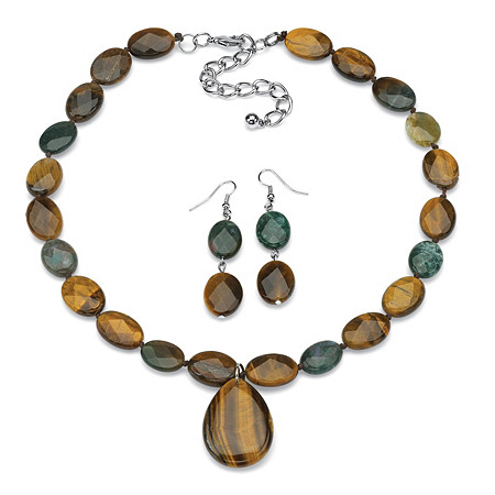 Genuine Jasper and Faceted Tiger's Eye Necklace and Drop Earrings Set in Silvertone 18