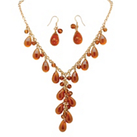 "Teardrop Amber Beaded ""Y"" 2-Piece Necklace And Drop Earring Set only $19.89"