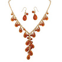 "Teardrop Amber Beaded ""Y"" 2-Piece Necklace and Drop Earring Set in Yellow Gold Tone"