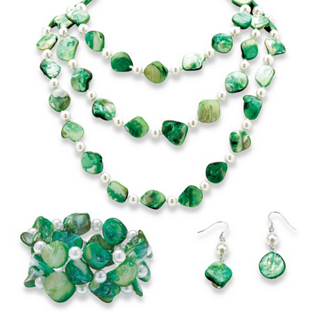 Green Shell and Pearl Necklace, Bracelet and Earrings 3-Piece Set in Silvertone at PalmBeach Jewelry