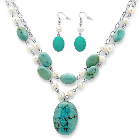 Genuine Turquoise and Cultured Freshwater Pearl Silvertone Necklace and Earrings Set 17