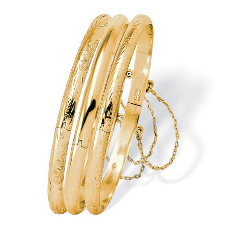 Three-Piece Set of Bangle Bracelets in 18k Gold over .925 Sterling Silver at PalmBeach Jewelry