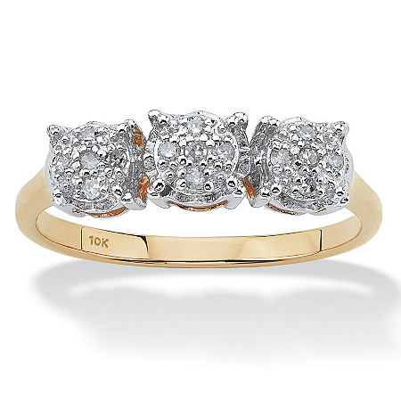 1/10 TCW Round Diamond Cluster Ring in 10k Gold at PalmBeach Jewelry