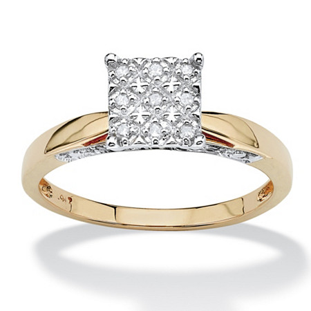1/10 TCW Round Diamond Pave Solid 10k Yellow Gold Princess-Shaped Anniversary Ring at PalmBeach Jewelry