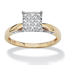 1/10 TCW Round Diamond Pave Solid 10k Yellow Gold Princess-Shaped Anniversary Ring