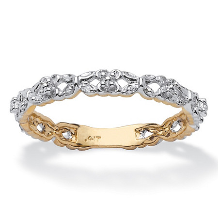Diamond Accent Stackable Eternity Promise Ring in 10k Yellow Gold at PalmBeach Jewelry