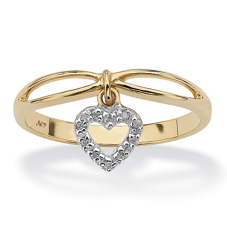 Diamond Accent Solid 10k Yellow Gold Heart Charm Promise Ring at PalmBeach Jewelry