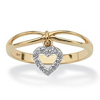 Diamond Accent Solid 10k Yellow Gold Heart Charm Promise Ring