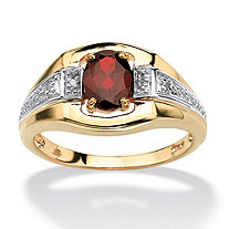 SETA JEWELRY Men's Oval-Cut Garnet and Diamond Accent Ring 1.40 TCW in 18k Gold over Sterling Silver