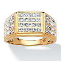 Men's 1/6 TCW Pave Diamond Multi-Row Grid Ring in 18k Gold over Sterling Silver