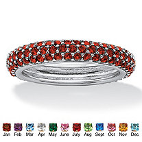 Pave-Set Birthstone Sterling Silver Triple-Row Eternity Band Ring