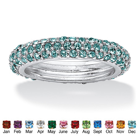 Pave-Set Birthstone Sterling Silver Triple-Row Eternity Band Ring at PalmBeach Jewelry