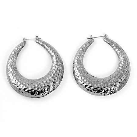 "Silvertone Hammered-Style Hoop Earrings (2"") at PalmBeach Jewelry"