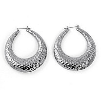 "Silvertone Hammered-Style Hoop Earrings (2"")"