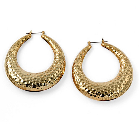Hammered-Style Hoop Earrings in Yellow Gold Tone at PalmBeach Jewelry