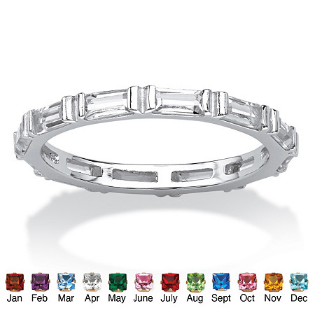 Baguette Birthstone Stackable Eternity Band in .925 Sterling Silver at PalmBeach Jewelry