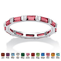 Baguette Birthstone Stackable Eternity Band in .925 Sterling Silver