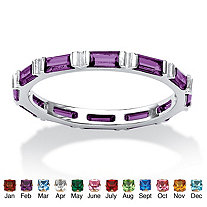 Baguette Simulated Birthstone Stackable Eternity Band in .925 Sterling Silver