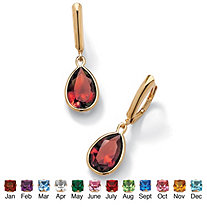 Pear-Cut Birthstone Drop Earrings in 18k Gold over Sterling Silver