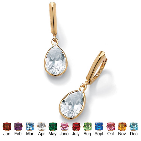 Pear-Cut Birthstone Drop Earrings in 18k Gold over Sterling Silver at PalmBeach Jewelry