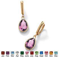 SETA JEWELRY Pear-Cut Birthstone Drop Earrings in 18k Gold over Sterling Silver