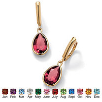 SETA JEWELRY Pear-Cut Birthstone Drop Earrings in 18k Gold over Sterling Silver