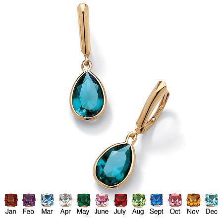 Pear-Cut Simulated Birthstone Drop Earrings in 18k Gold over Sterling Silver at PalmBeach Jewelry