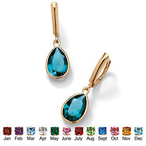 SETA JEWELRY Pear-Cut Simulated Birthstone Drop Earrings in 18k Gold over Sterling Silver