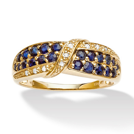 1.13 TCW Genuine Midnight Blue Sapphire Diamond Accent 18k Gold over Sterling Silver Ring at PalmBeach Jewelry