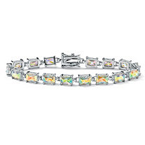 "15.30 TCW Emerald-Cut Aurora Borealis Cubic Zirconia Silvertone Tennis Bracelet 7 1/4"""