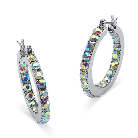 Aurora Borealis Crystal Inside-Out Hoop Earrings in Silvertone (1