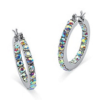"Aurora Borealis Crystal Inside-Out Hoop Earrings in Silvertone (1"")"