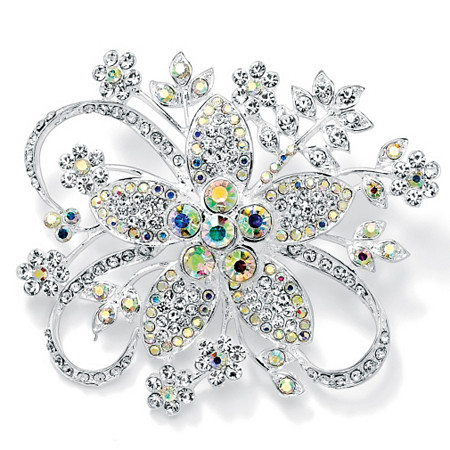 Round Aurora Borealis Crystal Silvertone Bouquet Pin at PalmBeach Jewelry