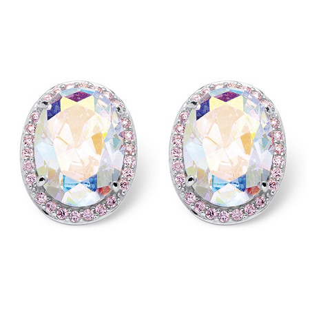 26.81 TCW Oval Cut Aurora Borealis Cubic Zirconia Earrings in Sterling Silver at PalmBeach Jewelry