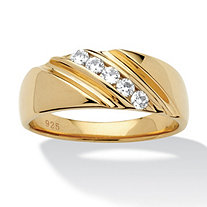 Men's .50 TCW Round Cubic Zirconia Diagonal Ring in 18k Gold over Sterling Silver Sizes 8-16