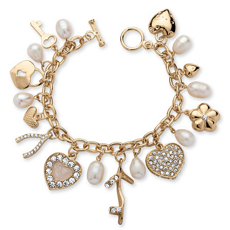Fashion Cultured Freshwater Pearl and Crystal Charm Bracelet in Yellow Gold Tone at PalmBeach Jewelry