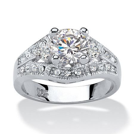 1.57 TCW Round Cubic Zirconia Platinum over Sterling Silver Engagement Anniversary Ring at PalmBeach Jewelry
