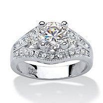 1.57 TCW Round Cubic Zirconia Platinum over Sterling Silver Engagement Anniversary Ring