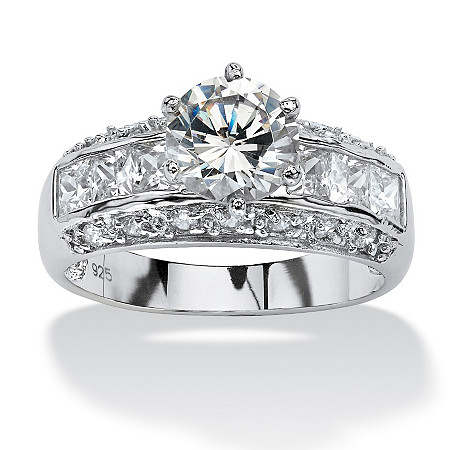 2.99 TCW Round Cubic Zirconia Engagement Anniversary Ring in Platinum over Sterling Silver at PalmBeach Jewelry