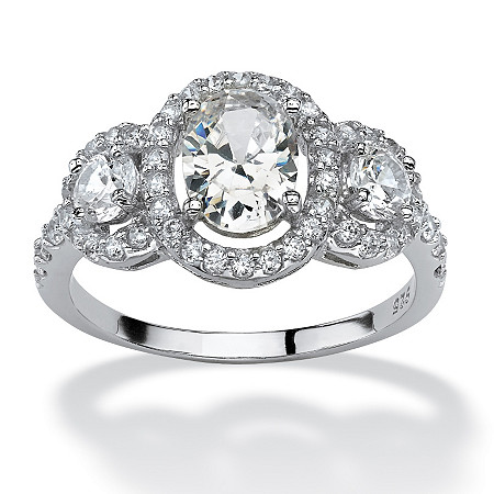 2.21 TCW Oval-Cut Cubic Zirconia Engagement Anniversary Halo Ring in Platinum over Sterling Silver at PalmBeach Jewelry