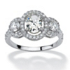Related Item 2.21 TCW Oval-Cut Cubic Zirconia Engagement Anniversary Halo Ring in Platinum over Sterling Silver