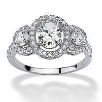 SETA JEWELRY 2.21 TCW Oval-Cut Cubic Zirconia Engagement Anniversary Halo Ring in Platinum over Sterling Silver