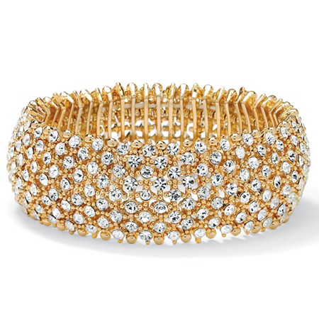 Crystal Stretch Bracelet in Yellow Gold Tone (25mm) at PalmBeach Jewelry