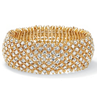 Crystal Stretch Bracelet In Yellow Gold Tone ONLY $28.99