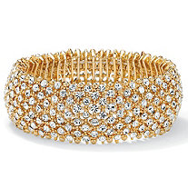 Crystal Stretch Bracelet in Yellow Gold Tone (25mm)