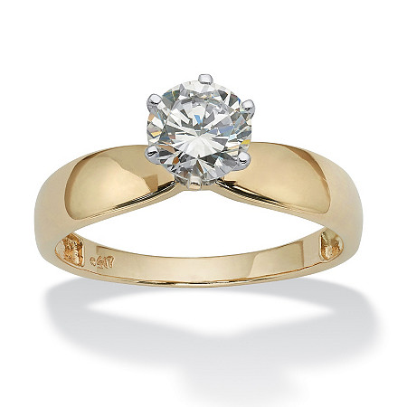 1.25 TCW Round Cubic Zirconia Solitaire Engagement Ring in 10k Yellow Gold at PalmBeach Jewelry