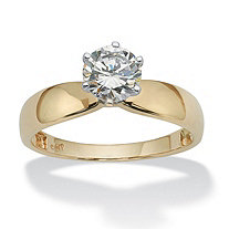 1.25 TCW Round Cubic Zirconia Solitaire Engagement Ring in 10k Yellow Gold
