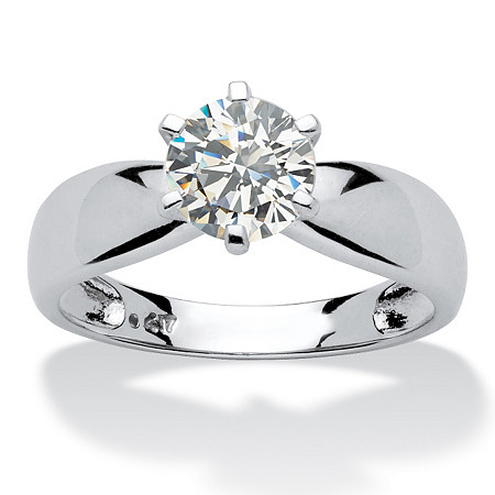 1.25 TCW Round Cubic Zirconia 10k White Gold Bridal Engagement Solitaire Ring at PalmBeach Jewelry